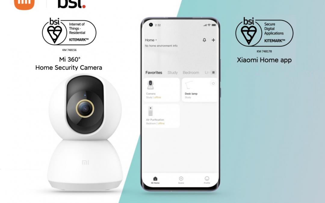 Nadzorna kamera Mi 360° in aplikacija Xiaomi Home z varnostnim certifikatom BSI Kitemark